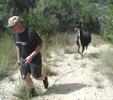 Jim and Spats on a steep trail.